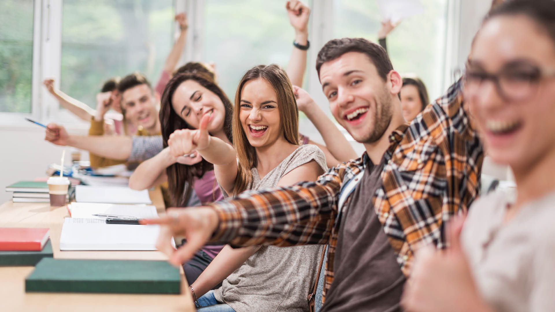 Students celebrating in class