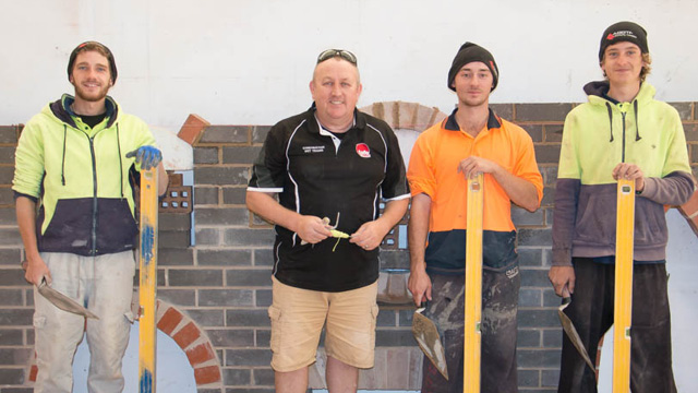 Bricklaying students get hands-on experience at the TAFE Queensland Toowomba campus